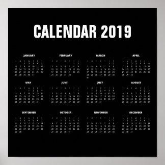 Simple Minimalist 2019 Calendar | Poster