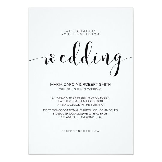 Gallery Minimalist Wedding Invitations: Simple Minimalist Calligraphy Wedding Invitation