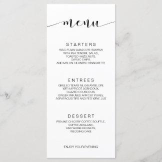 Simple Minimalist Calligraphy Wedding Menu