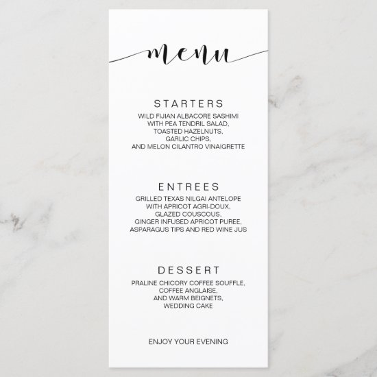 Simple Minimalist Calligraphy Wedding Menu