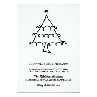 Simple Minimalist Christmas Tree Holiday Party Card