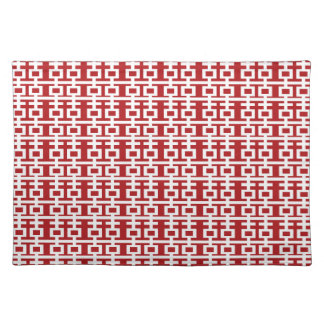 Simple Minimalist Double Happiness Chinese Wedding Cloth Place Mat