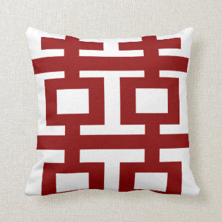 Simple Minimalist Double Happiness Chinese Wedding Throw Pillows