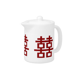 Simple Minimalist Double Happiness Chinese Wedding Teapot