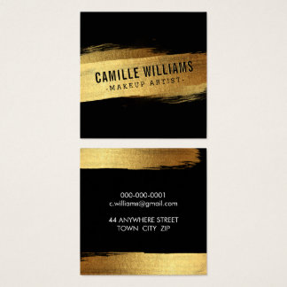 SIMPLE MINIMALIST glam faux gold foil brush stroke Square Business Card