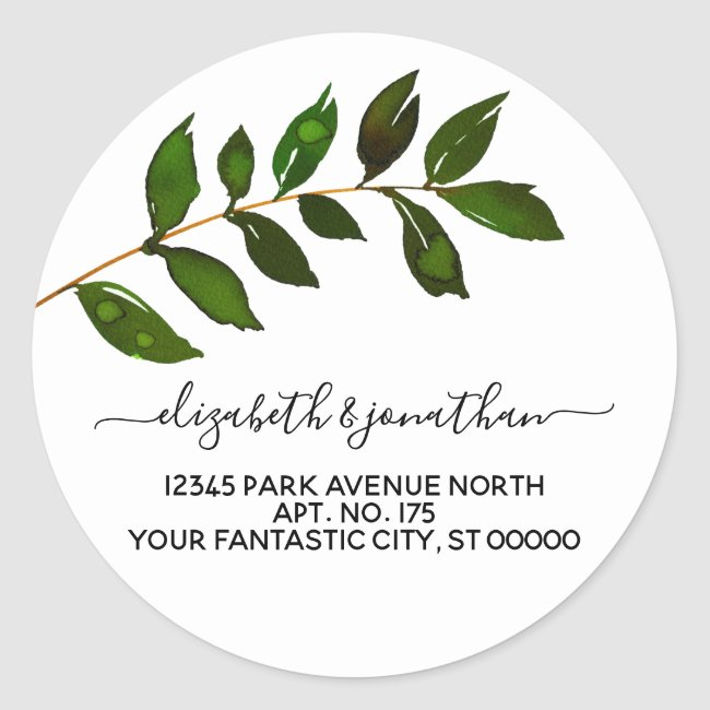 Simple Minimalist Leaf Foliage Wedding Classic Round Sticker