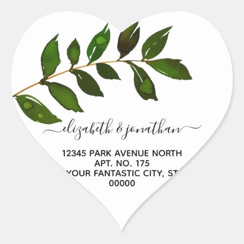 Simple Minimalist Leaf Foliage Wedding Heart Sticker