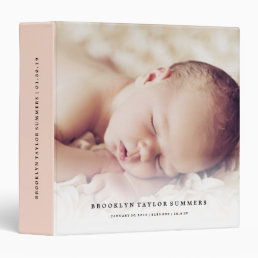 Simple Minimalist Modern New Baby First Year Photo 3 Ring Binder