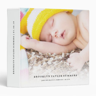 Simple Minimalist Modern New Baby First Year Photo 3 Ring Binders