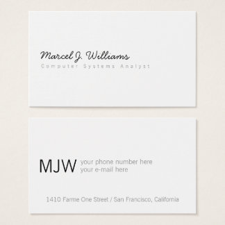 simple minimalist modern professional white business card