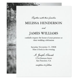Simple wedding invitations announcements zazzle simple minimalist photo wedding invitation stopboris