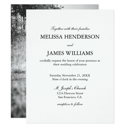 Simple Minimalist Photo Wedding Invitation Zazzlecom