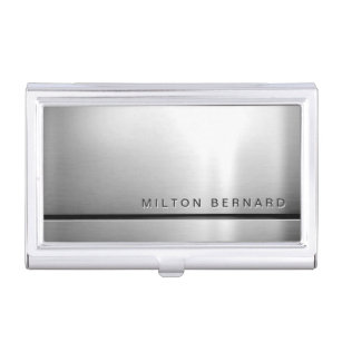simple minimalist silver metallic look case for business cards - Silver Business Card Holder