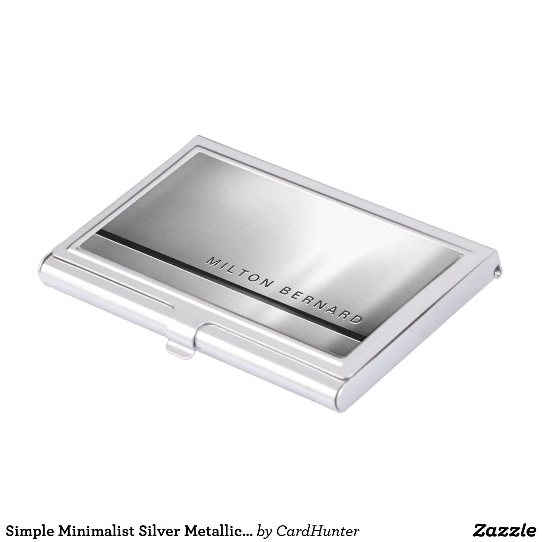 Simple Minimalist Silver Metallic Look Business Cards Holder