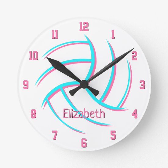 simple minimalist style custom girls volleyball round clock
