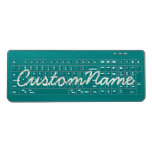 [ Thumbnail: Simple, Minimalist, Teal Background & Ivory Name Wireless Keyboard ]