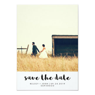 Simple Minimalist Typography Photo Save the Date Card