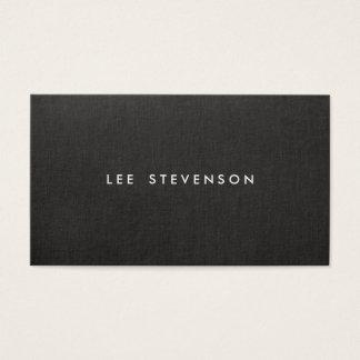 Simple Minimalistic Modern Black Linen Look Business Card