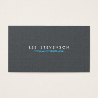 Simple Minimalistic Solid Gray Linen Look Business Card