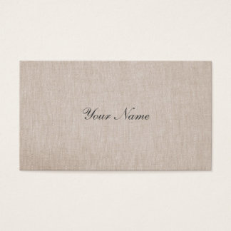 Simple Minimalistic Tan Beige Linen Business Card