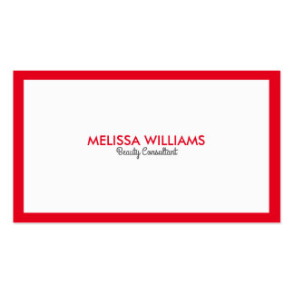 Simple Minimalistic White & Bright red Border Business Card