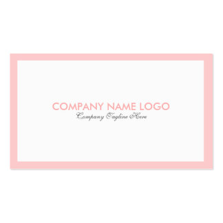 Simple Minimalistic White & Light Pink Border Business Card