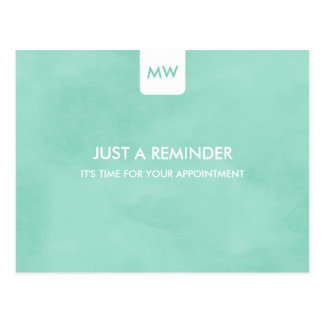 Simple Mint Chic Appointment Reminder QR Code Post Card
