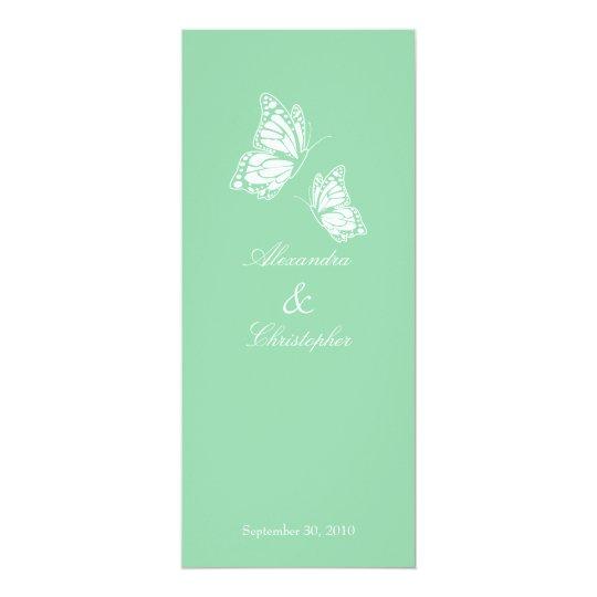 Simple Mint Green Butterflies Wedding Announcement