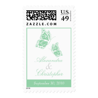 Simple Mint Green Butterfly Save The Date Wedding Stamp