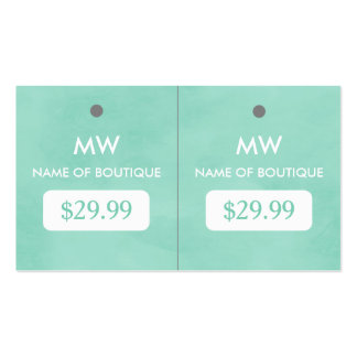 Simple Mint Green Chic Boutique Monogram Hang Tags Double-Sided Standard Business Cards (Pack Of 100)