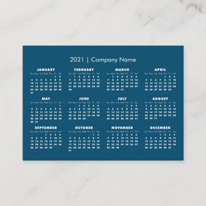 Simple Modern 2021 Calendar Company Name Business Card
