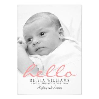 Simple Modern Baby Birth Photo Announcement