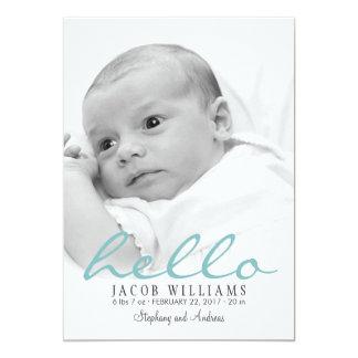 Simple Modern Baby Birth Photo Announcement Boy