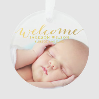 Simple Modern Baby Birth Photo Announcement Ornament