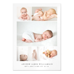 Simple Modern Baby Photo Collage Birth Stats Magnetic Invitation