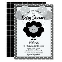 Simple Modern Baby Shower, Chic Black & White Lamb Invitation