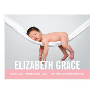 SIMPLE Modern Birth Announcement Postcard