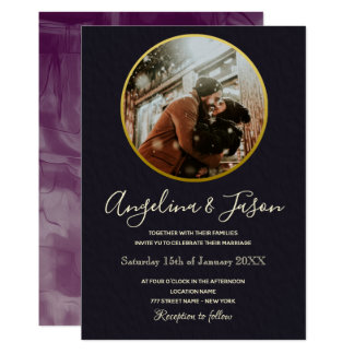 Simple Modern Black and Gold Winter Wedding Photo Invitation