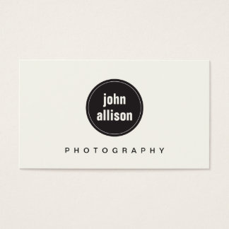 Simple Modern Black and White, Black Circle Emblem Business Card