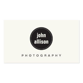 Simple Modern Black and White, Black Circle Emblem Double-Sided Standard Business Cards (Pack Of 100)