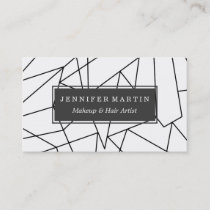 Simple Modern Black and White Geometric Pattern Business Card