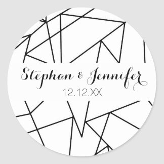 Simple Modern Black and White Geometric Pattern Classic Round Sticker