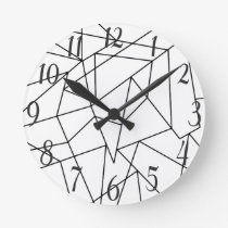 Simple Modern Black and White Geometric Pattern Round Clock