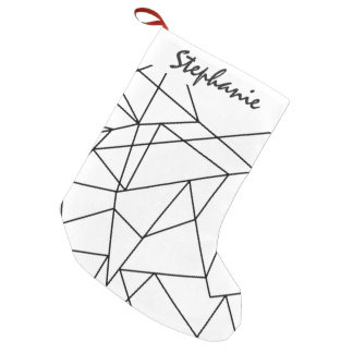 Simple Modern Black and White Geometric Pattern Small Christmas Stocking