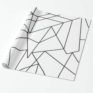 Simple Modern Black and White Geometric Pattern Wrapping Paper