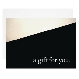 Simple Modern Black Gold Holiday Gift Certificate Card