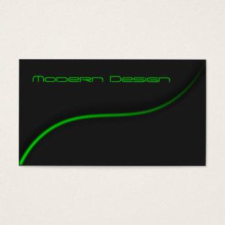 Simple Modern Black & Green Swoosh - Business Card