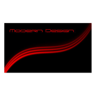 Simple Modern Black, Red Swoosh - Business Card