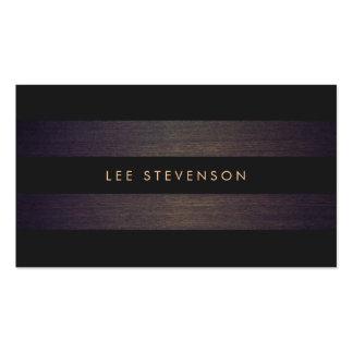 Simple Modern Black Stripes Elegant Wood Look Double-Sided Standard Business Cards (Pack Of 100)