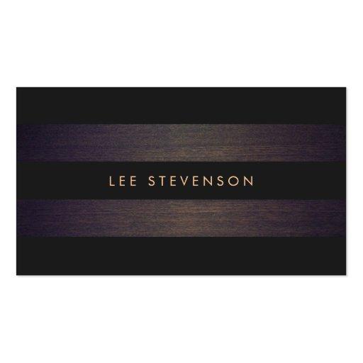 Simple Modern Black Stripes Elegant Wood Look Business Card Templates